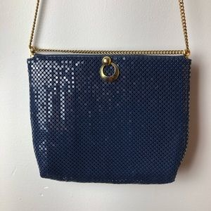 Whiting & Davis Navy Mesh Bag Gold Chain Vintage